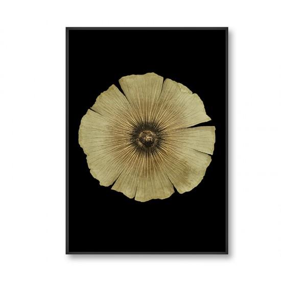 Πίνακας  με χρυσό λουλούδι σε ξύλινη κορνίζα  80x120cm