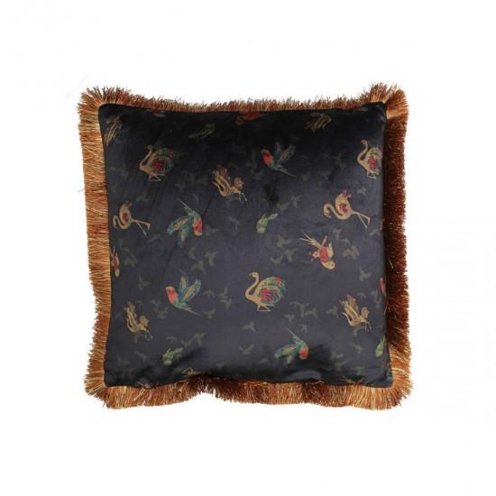 Βελούδινο μαξiλάρι με κρόσσι μαύρο χρ. με floral print, 45x45cm   ZAROS