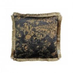 Βελούδινο μαξiλάρι με κρόσσι σε μαύρο χρυσό print, 45x45cm | ZAROS