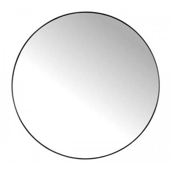 Στρογγυλός καθρέπτης με μαύρη μεταλλική κορνίζα, δ.116cm | ZAROS
