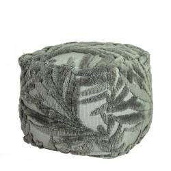 Πουφ υφαντό με ανάγλυφα φύλλα,πράσινο,45x45x45cm | ZAROS