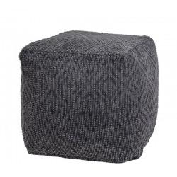Πουφ γεωμετρικό ζακάρ, σκ.γκρι,45x45x45cm | ZAROS